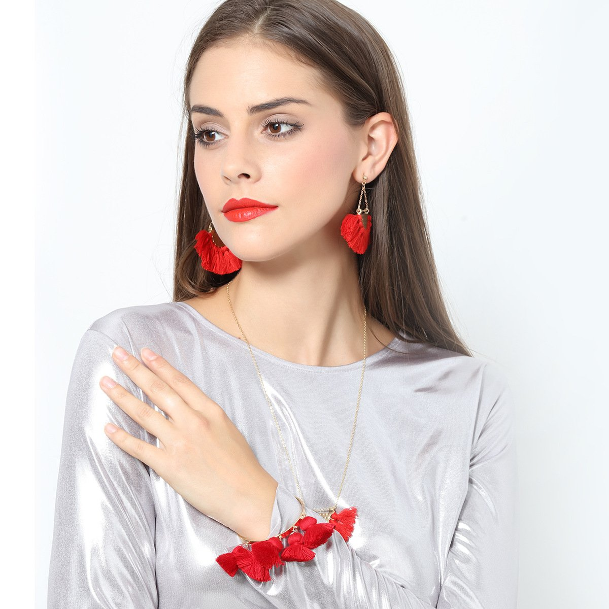 European and American fashion big fan-shaped tassel earrings female high-end bohemian earrings exaggerated fashion jewelry wholesale - Urunigi.com