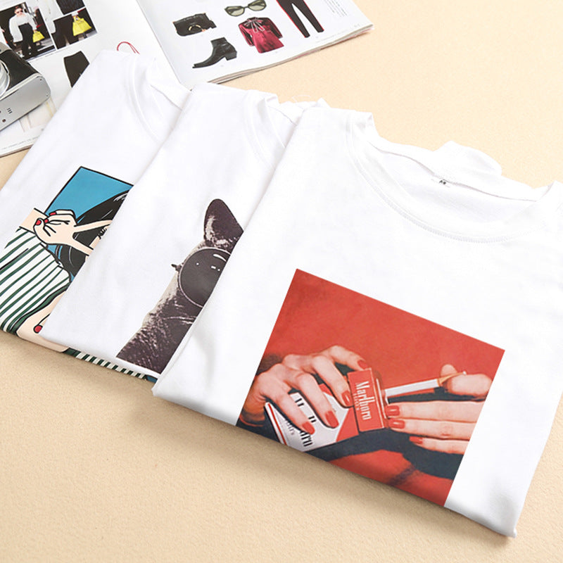 Yoga pants wholesale 2020 summer blouse sets of women's new loose cartoon finger print short-sleeved t-shirt a generation
