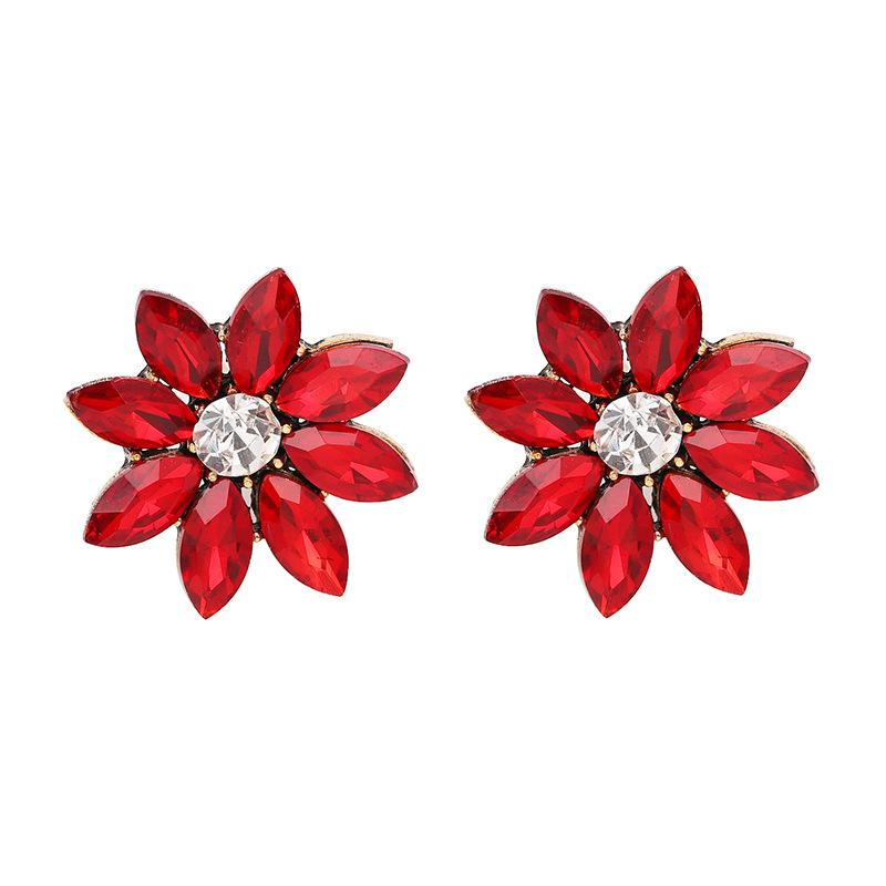 Crystal Flower Stud Earring Fashion Women Statement Stud Earrings for Women Brincos femme Factory wholesale - Urunigi.com