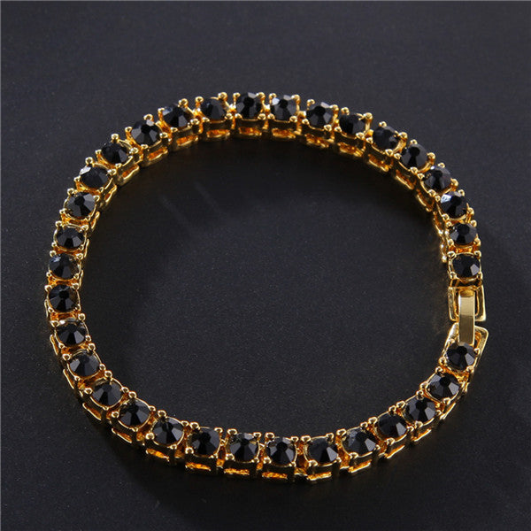 Hip Hop Rhinestone Bracelet Men's Hip Hop 1 Row Diamond Bracelet