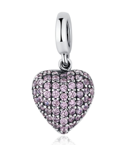 925 Sterling Silver Love All Around Pink CZ Heart Charm With CZ Fit Original WST Bracelet Pendant Authentic Same Jewelry