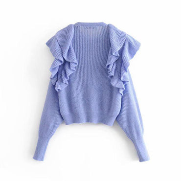 Stacked decorative short sweater - Urunigi.com