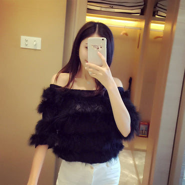 Lace stitching ostrich feather strapless neck collar cropped sleeves versatile fur top