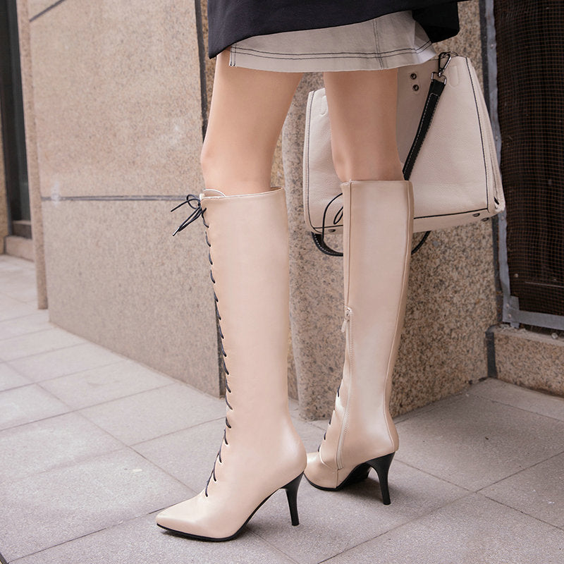 Stiletto high heel pointed high boots