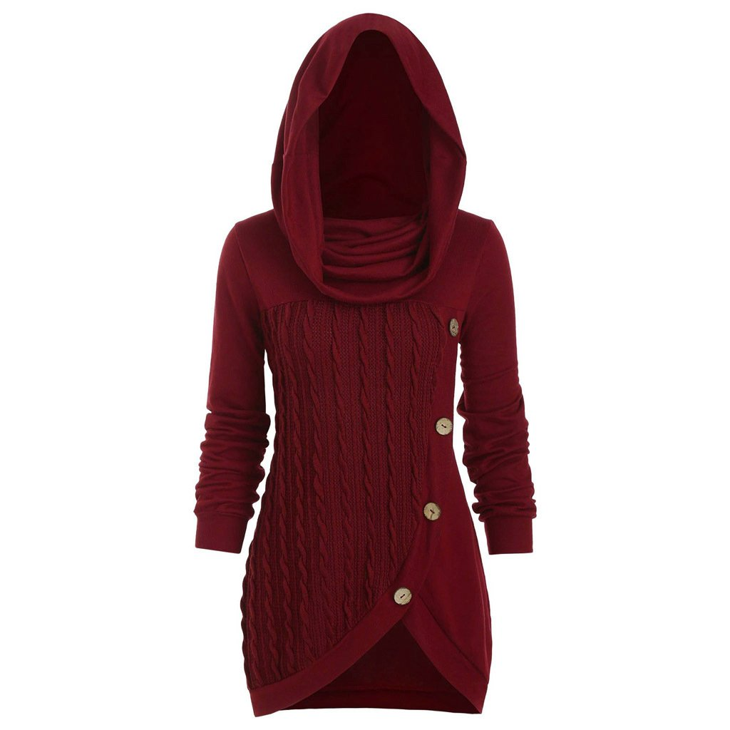Pile pile collar hooded sweater - Urunigi.com