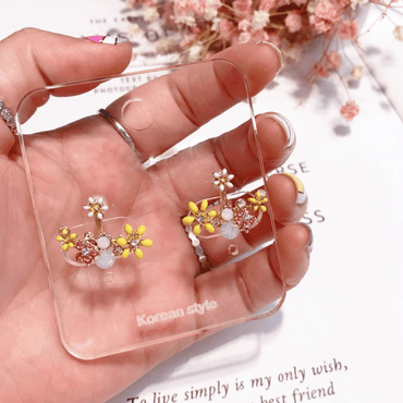 Glazed flower rhinestone earrings - Urunigi.com