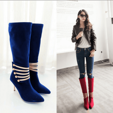 Autumn and winter handsome Martin boots sexy thin high heel side zipper high boots fashion stitching large size women's shoes - Urunigi.com