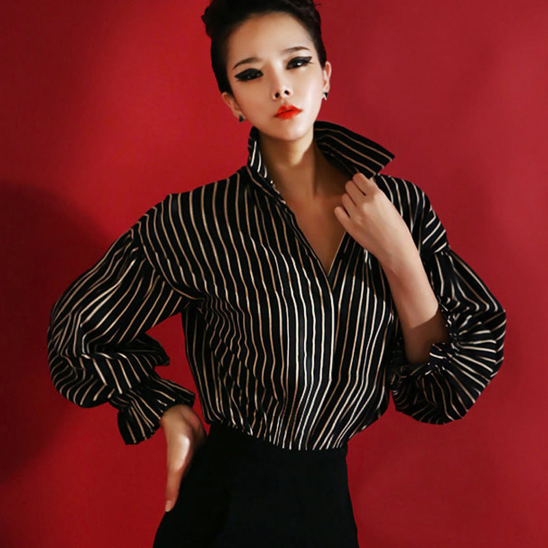 Black and White Striped Loose Blouse
