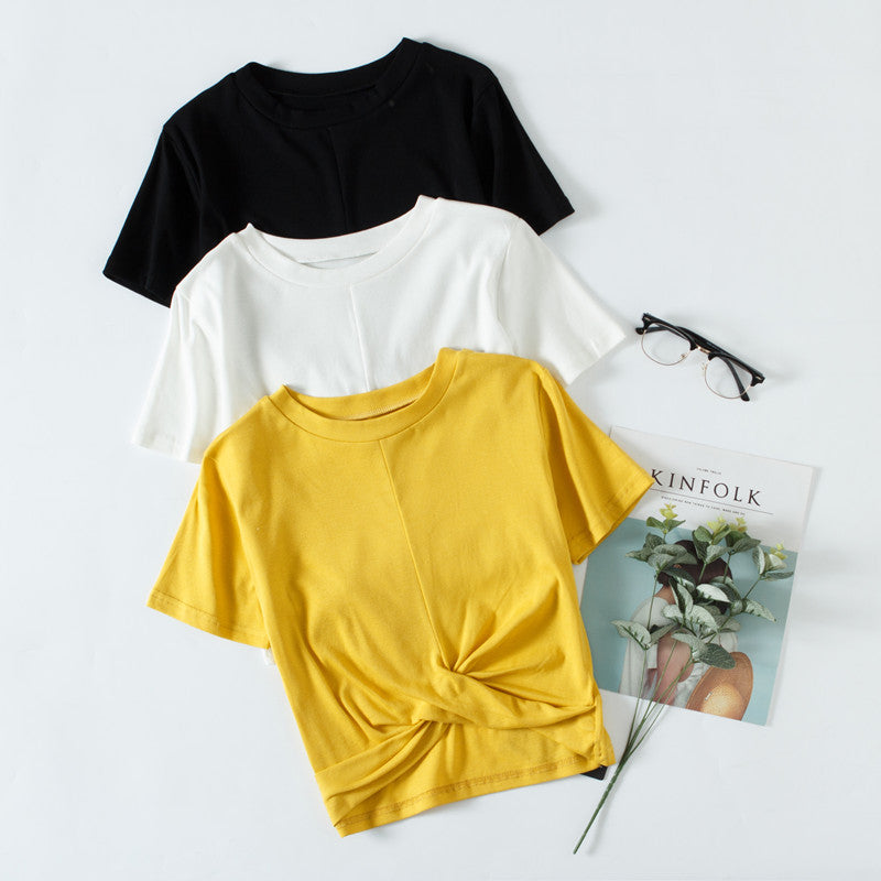 Summer 2020 New Women''s Dress Korean T-shirt Short Elastic Cotton Short Sleeve Pure T-shirt Strange Girl Top 955