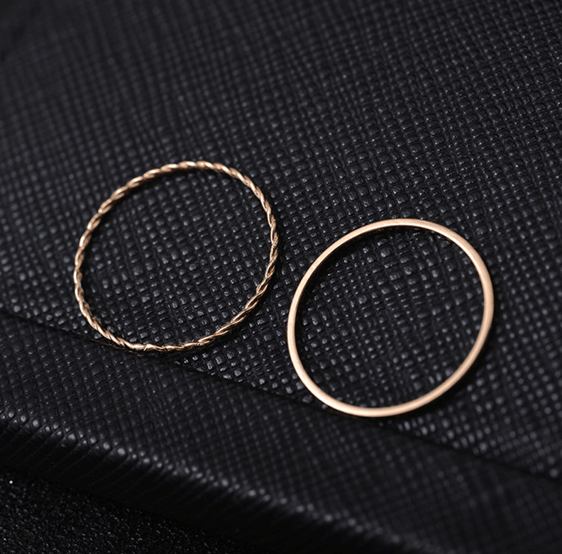Metal Electroplated Twist Geometric 2-piece Ring Set - Urunigi.com