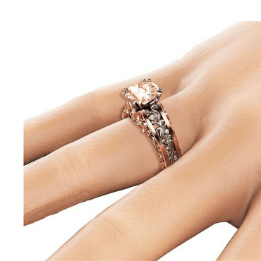 New Ring Plated 14k Rose Gold Separated Ring Champagne Gemstone Diamond Ring - Urunigi.com
