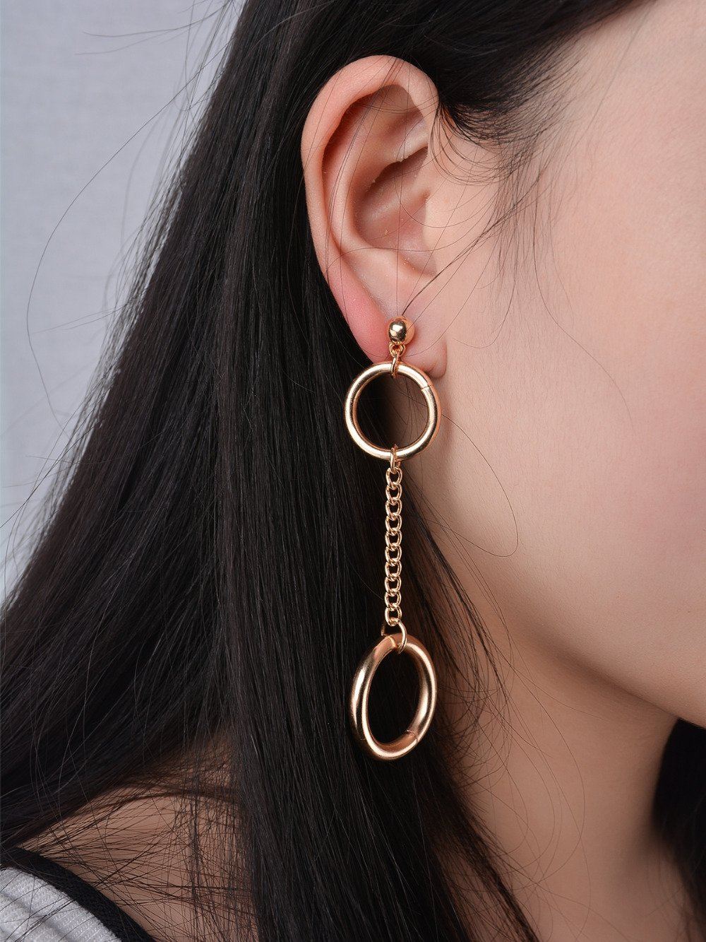 Vintage Bohemia Double Round Dangle Drop Earrings Two Colors Alloy Link Chain Ears Jewelry for Women - Urunigi.com