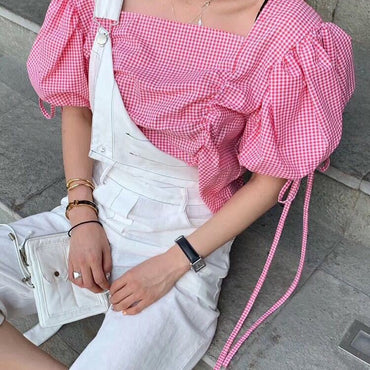 Lace-up puff sleeve