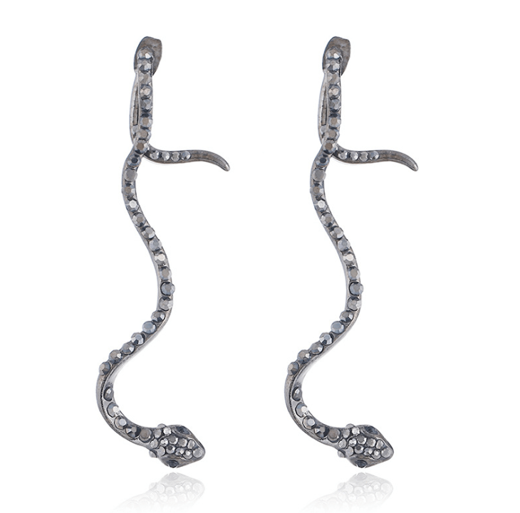 European and American jewelry creative personality zircon snake female long earrings simple temperament snake earrings - Urunigi.com