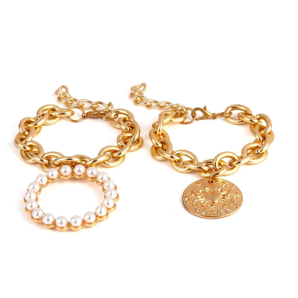 Euro-American Cross-border Jewelry Exaggerates Crab Geometry Hollow Hand Jewelry Female Punk Multi-layer Pearl-like Temperament Bracelet
