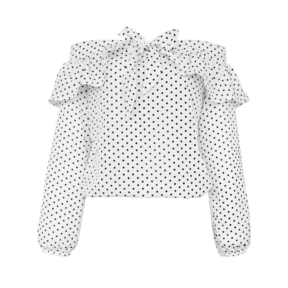 USA SIZE Sexy word collar strapless women's jacket wave point tie bow long sleeve shirt - Urunigi.com