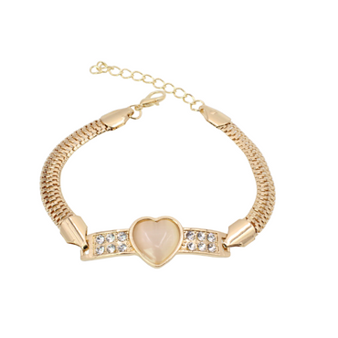 Popular diamond-studded cat's eye peach heart love bracelet bracelet