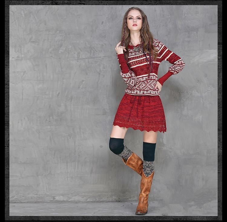 Autumn Winter Dress Women Vintage Hit color hollow wool Sweater Dresses Lantern sleeve Slim Knitting Sexy hollow Mini Dress - Urunigi.com