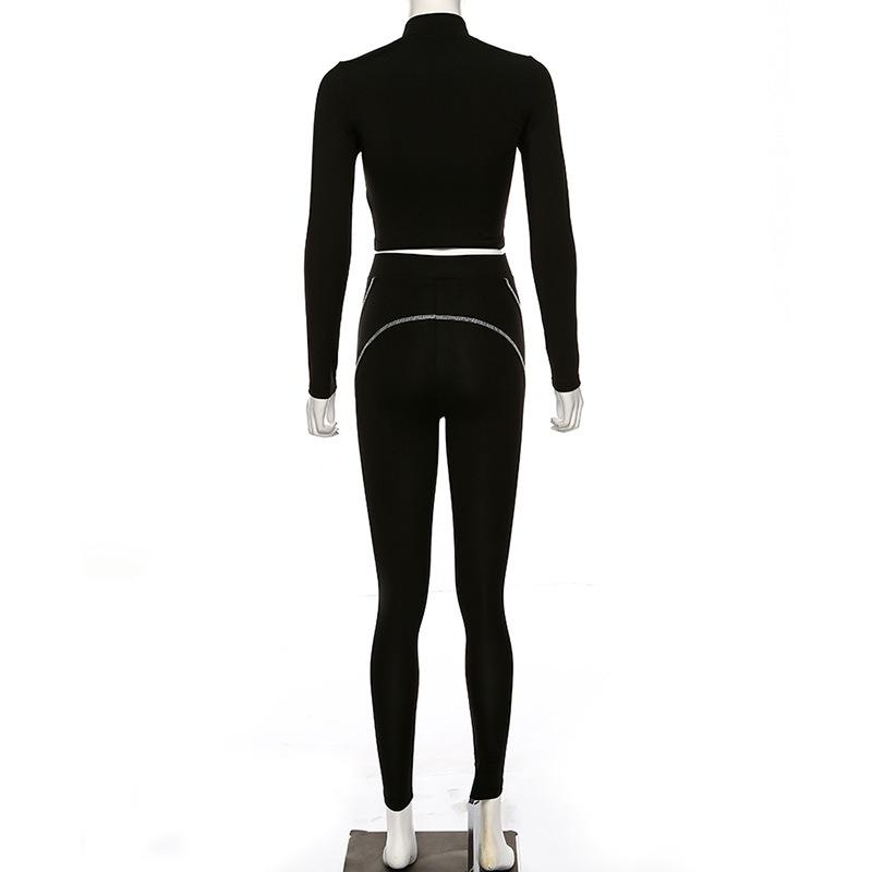 Striped embossed yoga suit - Urunigi.com