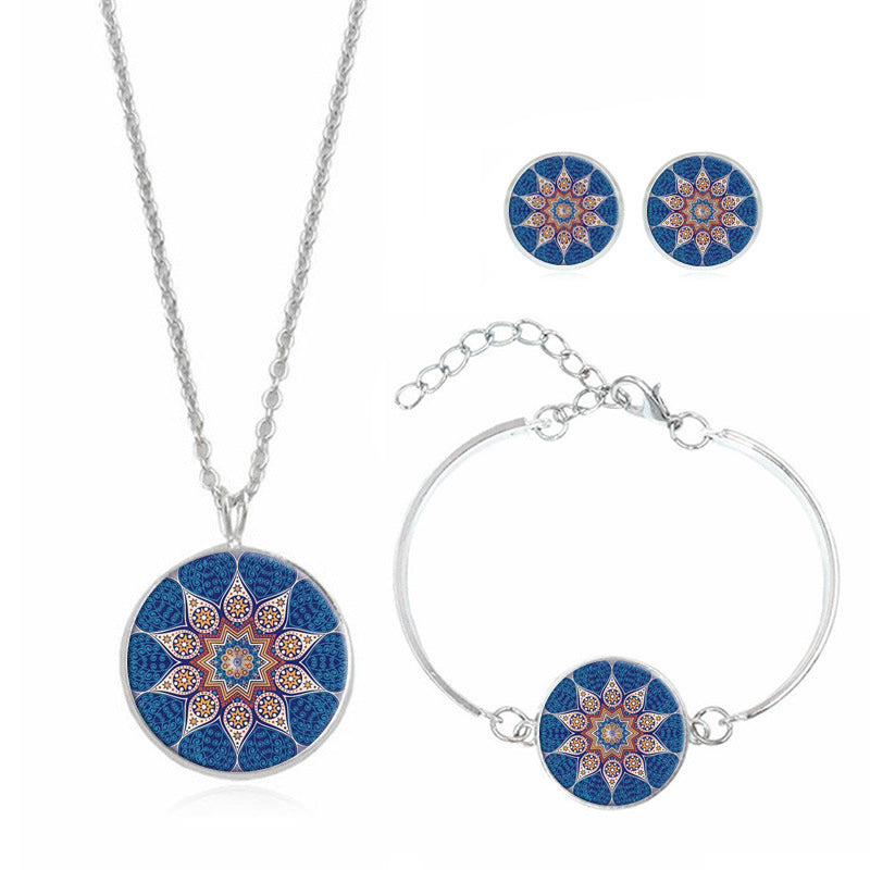 Mandala Flower Time Gemstone Necklace