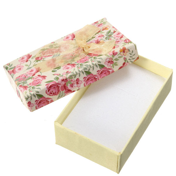 Flower Bowknot Necklace Earrings Ring Jewelry Gift Paper Box Case