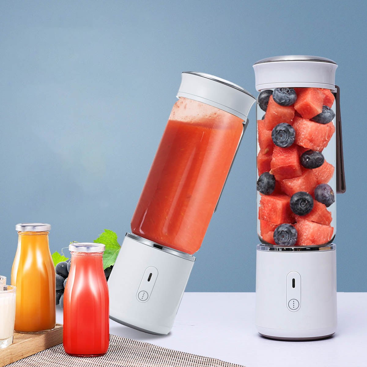AUGIENB 500ML Electric Glass Juicer Cup Fruit Extractor Machines Personal Portable Blender Maker Shakes Ice Blender Mixer Juicer 6 Blade USB Rechargeable 20s Fast Stirring Camping Travel