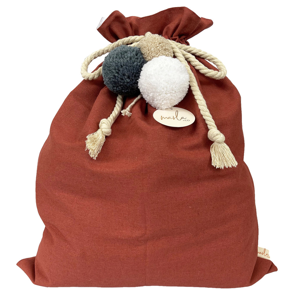 SALE // Cinnamon Santa Sack with Denim Linen Pompoms