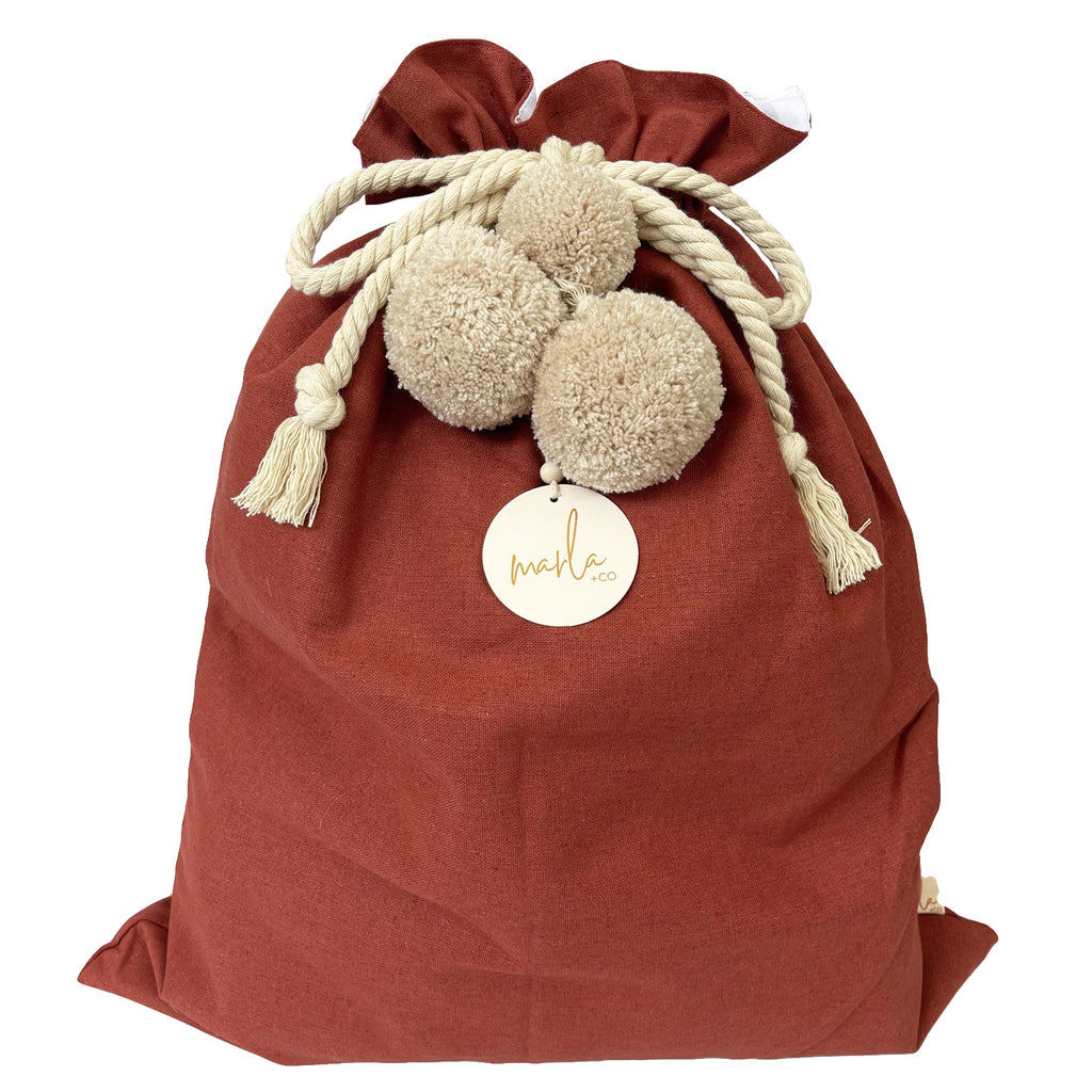 SALE // Cinnamon Santa Sack with Linen Pompoms