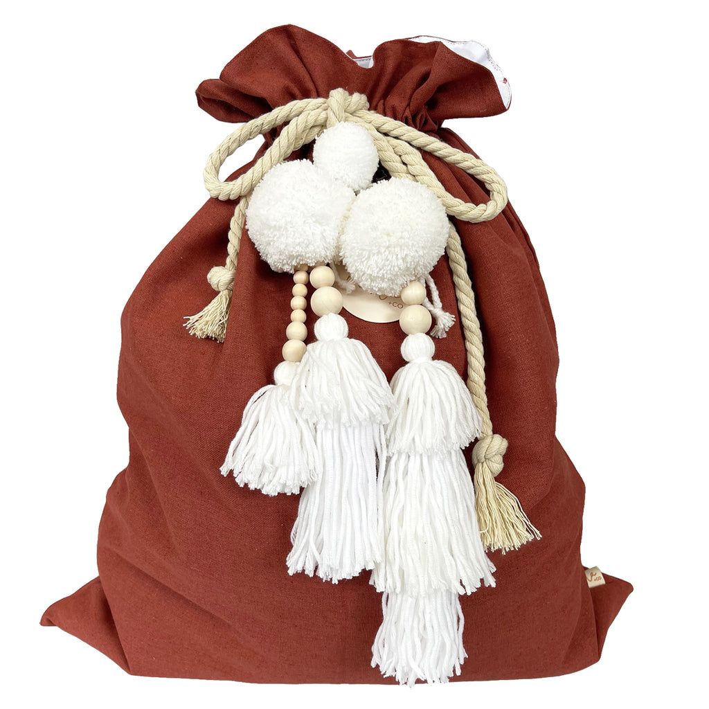 SALE // Cinnamon Santa Sack with White Jumble