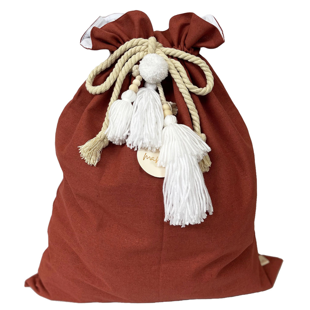 SALE // Cinnamon Santa Sack with White Tassels