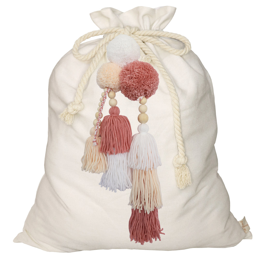 SALE // Cream Santa Sack with Dusty Pink Jumble **PHOTOSHOOT SAMPLE**