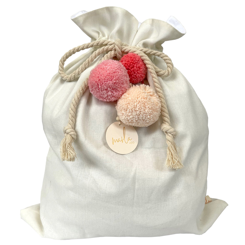 SALE // Cream Santa Sack with Coral Peach Pompoms *SECONDS*