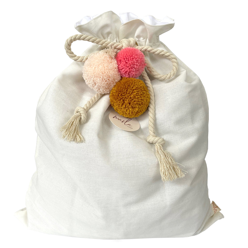 SALE // Cream Santa Sack with Pumpkin Coral Peach Pompoms *SECONDS*