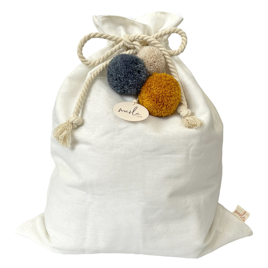 SALE // Cream Santa Sack with Denim Pumpkin Pompoms *SECONDS*