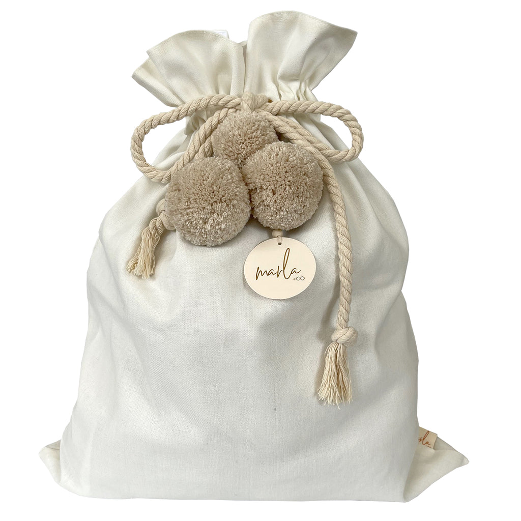 SALE // Cream Santa Sack with Linen Pompoms *SECONDS*