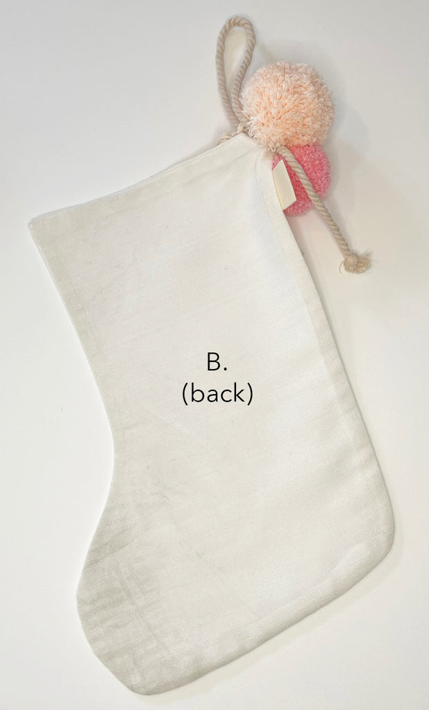 SALE // Cream Stocking with Peach Pink Pompoms *SECONDS*