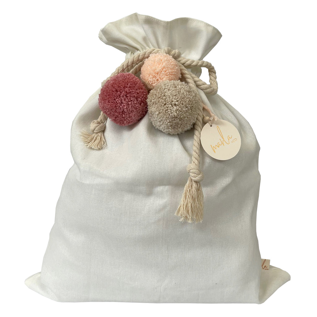 SALE // Cream Santa Sack with Rose Ash Peach Pompoms *SECONDS*