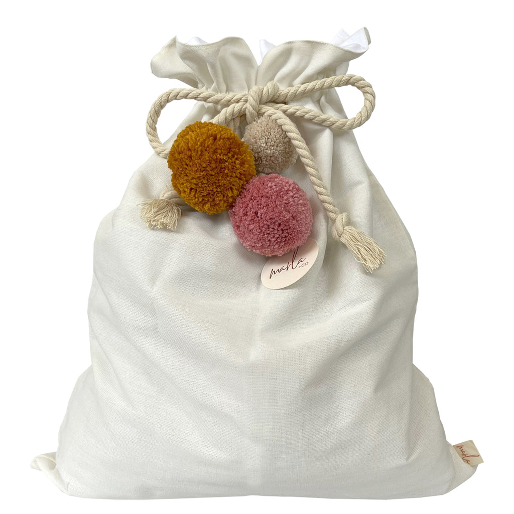 SALE // Cream Santa Sack with Rose Ash Pumpkin Pompoms *SECONDS*