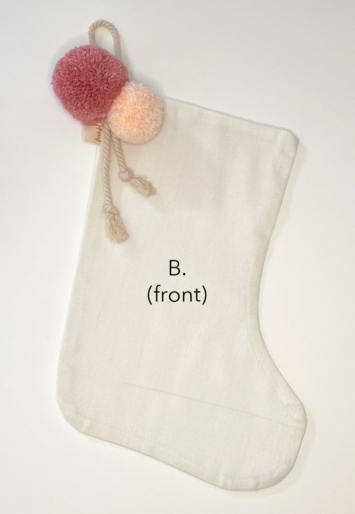 SALE // Cream Stocking with Peach Rose Ash Pompoms *SECONDS*