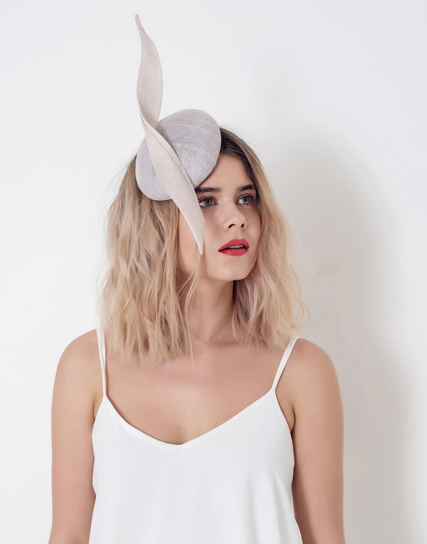 'Sabal' - Headpiece -Pale Grey/Blush Beige