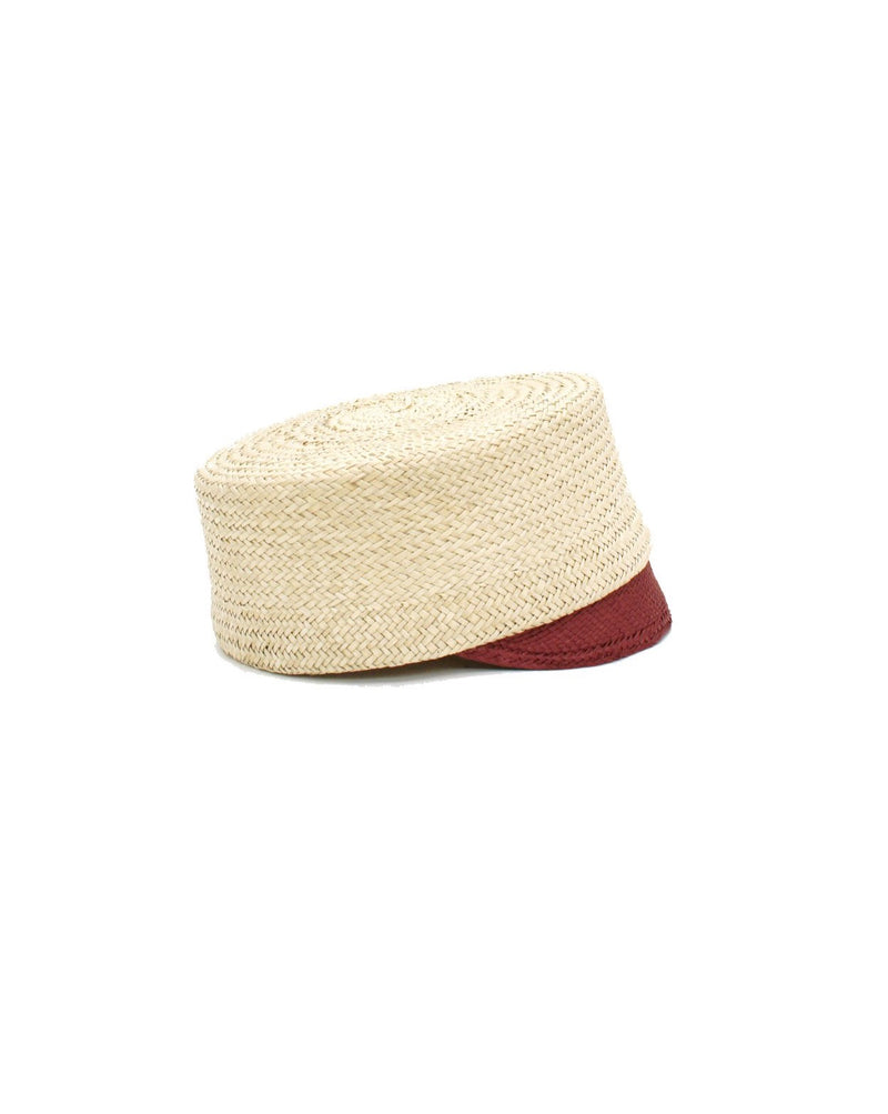 bell boy cap straw natural red