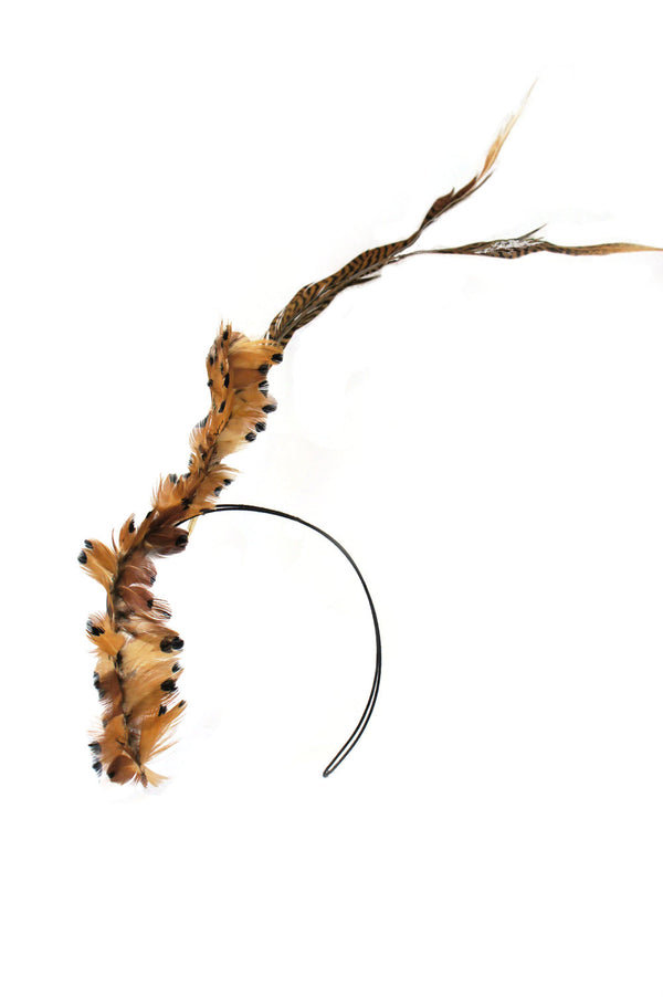 'TERRA' - HEADBAND - NATURAL FEATHERS