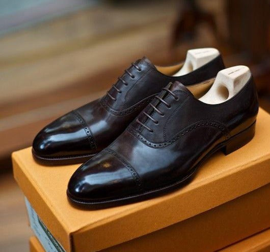 Black Beauty Goodyear Welted Toe Cap Oxford