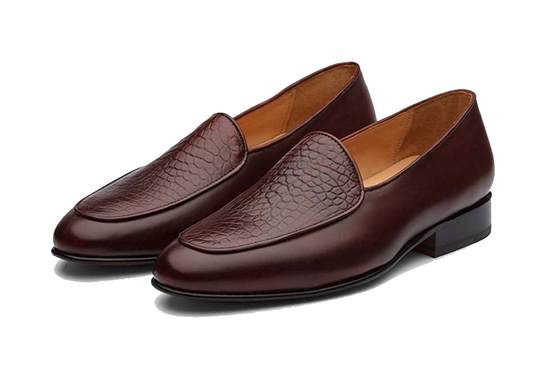 Aaron Alligator Print Burgundy Goodyear Welted Loafer