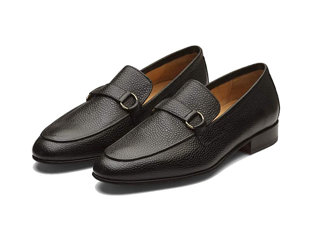 Ethan Pebble Grain Goodyear Welted Black Penny Loafer