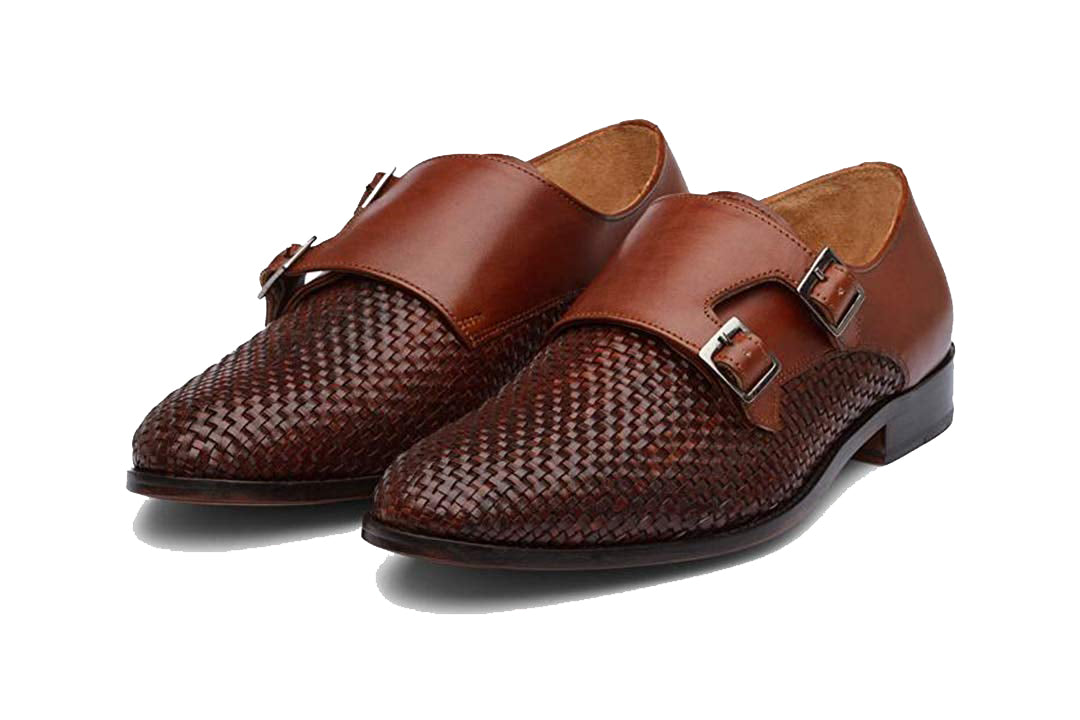 Jasper Tan Braided Goodyear Welted Double Monk Strap