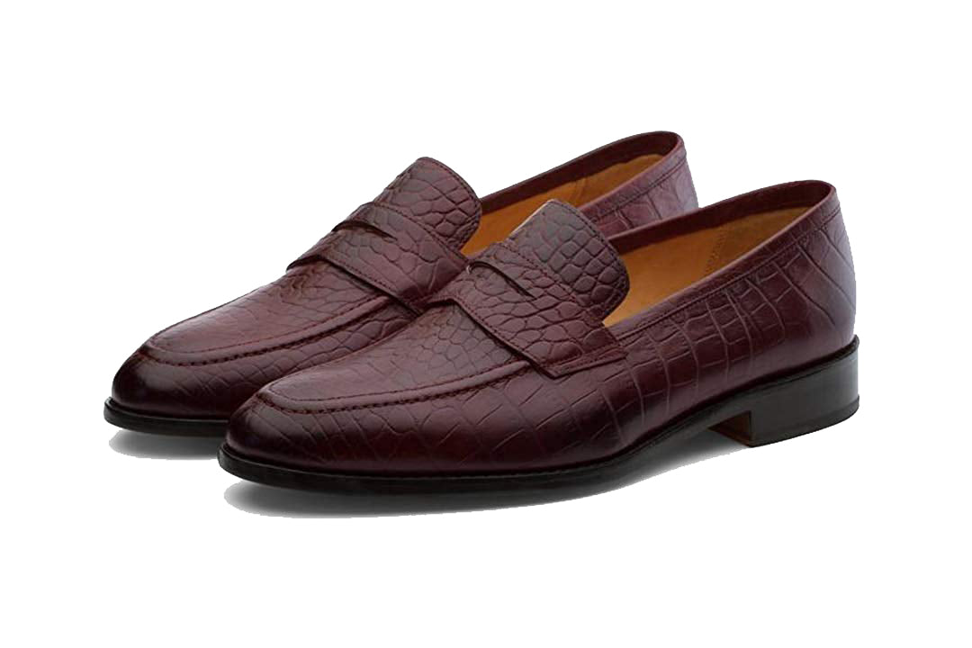Carter Alligator Print Burgundy Goodyear Welted Penny Loafer