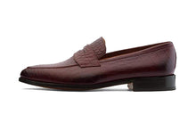 Load image into Gallery viewer, Carter Alligator Print Burgundy Goodyear Welted Penny Loafer