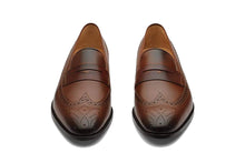 Load image into Gallery viewer, Thomas Brown Goodyear Welted Wingtip Brogue Penny Loafer
