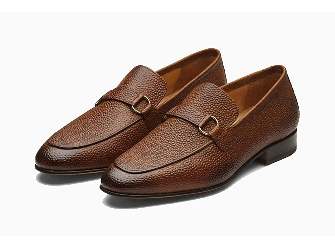 Ethan Pebble Grain Goodyear Welted Tan Penny Loafer